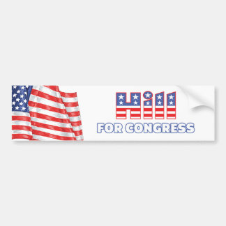 Hill for Congress Patriotic American Flag Car Bumper Sticker