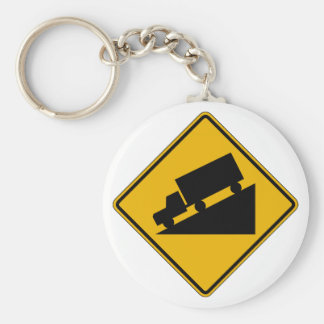Hill Graphic Traffic Warning Sign USA Key Chains