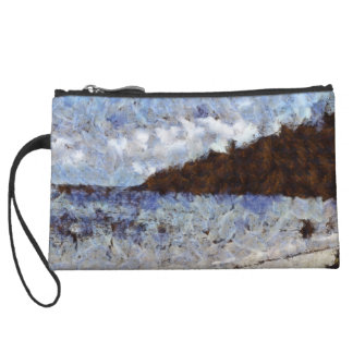 Hill heading out to sea wristlet purse
