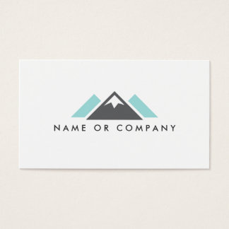 Hill or mountain logo, gray and pale aqua blue business card