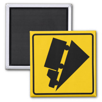 Hill or Steep Grade Warning Highway Sign 2 Inch Square Magnet