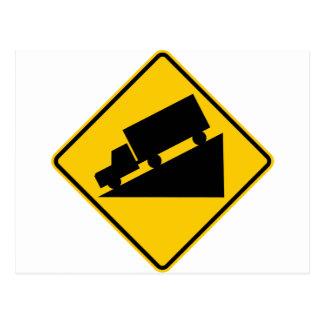 Hill or Steep Grade Warning Highway Sign Postcard