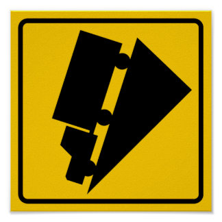 Hill or Steep Grade Warning Highway Sign Poster