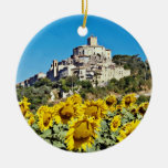 Hill town of Narni, Umbria, Italy  flowers Double-Sided Ceramic Round Christmas Ornament