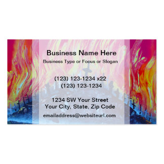 hill with crosses fire spraypainting business card