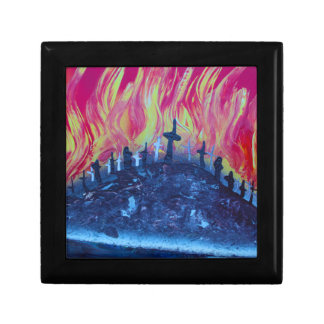 hill with crosses fire spraypainting jewelry box