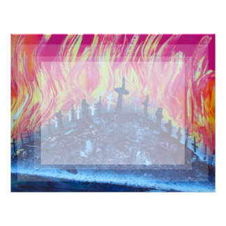 hill with crosses fire spraypainting letterhead