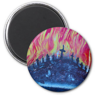 hill with crosses fire spraypainting magnet
