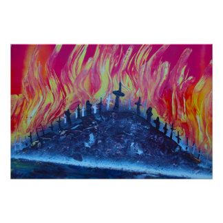 hill with crosses fire spraypainting poster