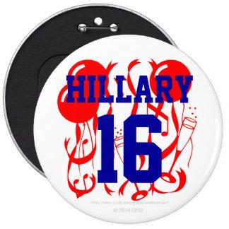 Hillary 16 6 inch round button