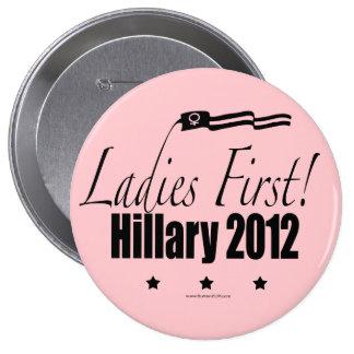 Hillary 2012 pin redondo de 4 pulgadas