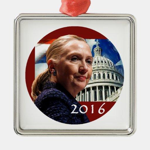Hillary 2016 adorno navideño cuadrado de metal