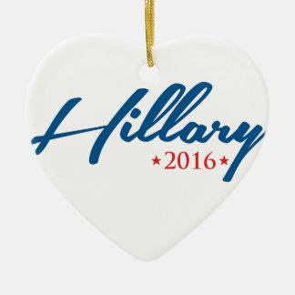 Hillary 2016 adorno navideño de cerámica en forma de corazón