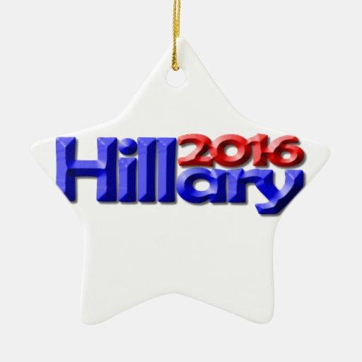 Hillary 2016 adorno navideño de cerámica en forma de estrella