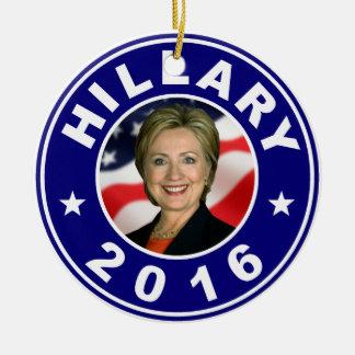 Hillary 2016 adorno navideño redondo de cerámica