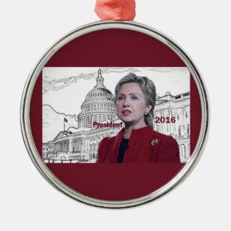 Hillary 2016 adorno navideño redondo de metal
