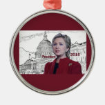 Hillary 2016 adorno redondo plateado