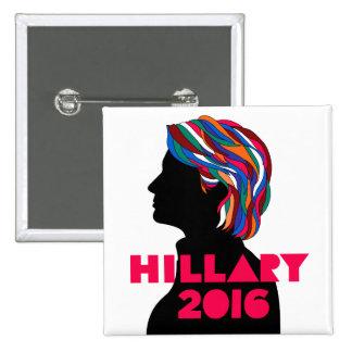 Hillary 2016: Botón retro del cuadrado del diseño Pin Cuadrado