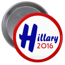 Hillary 2016 by GrassrootsDesigns4u 4 Inch Round Button