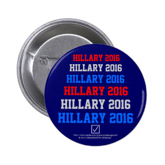 Hillary 2016 (Check Box) Red, White, and Blue Flag Pinback Button
