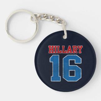 Hillary 2016, equipo universitario retro del llavero redondo acrílico a una cara