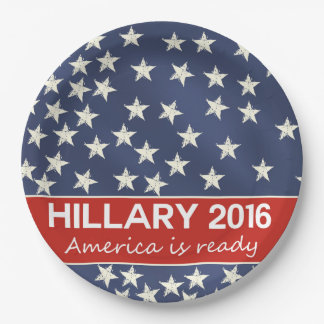 Hillary 2016: Estoy listo Plato De Papel De 9 Pulgadas