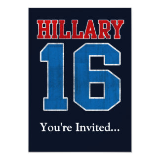 Hillary 2016, Grunge Retro Political Party Custom Invitations