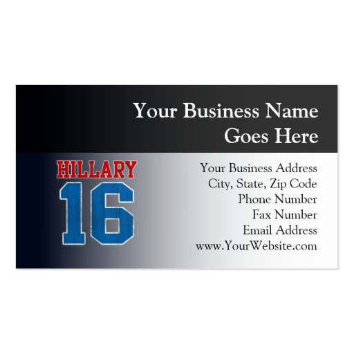 Hillary 2016, Grunge Retro Varsity Double-Sided Standard Business Cards (Pack Of 100)