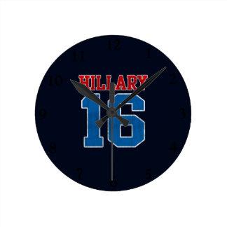 Hillary 2016, Grunge Retro Varsity Round Wall Clocks