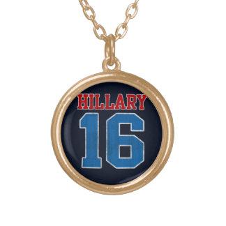 Hillary 2016, Grunge Retro Varsity Round Pendant Necklace