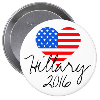 """Hillary 2016"" Heart Flag Large Button"