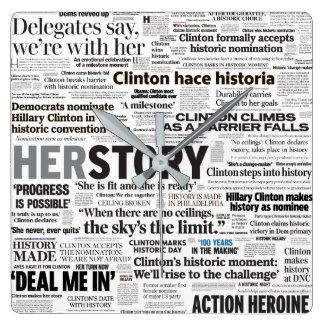 Hillary 2016 Historic Headline Collage Clock