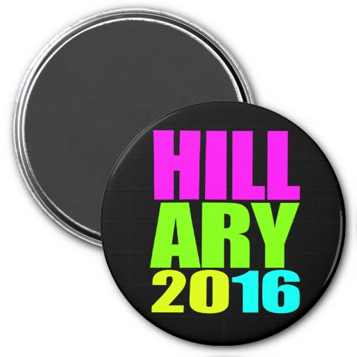 HILLARY 2016 NEON.png 3 Inch Round Magnet