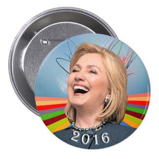 Hillary 2016 pin redondo de 3 pulgadas