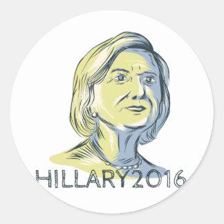 Hillary 2016 President Drawing Classic Round Sticker