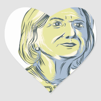 Hillary 2016 President Drawing Heart Sticker