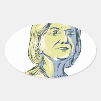 Hillary 2016 President Drawing Oval Sticker