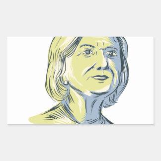 Hillary 2016 President Drawing Rectangular Sticker