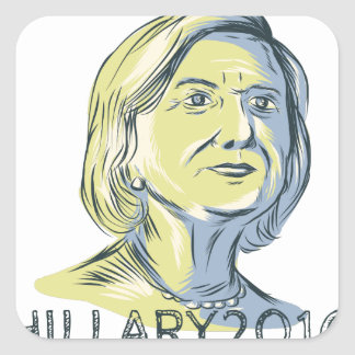 Hillary 2016 President Drawing Square Sticker
