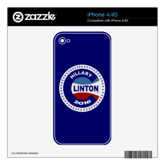 HILLARY 2016 THE TIME IS NOW! iPhone 4S DECALS