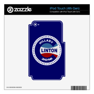HILLARY 2016 THE TIME IS NOW! iPod TOUCH 4G DECAL
