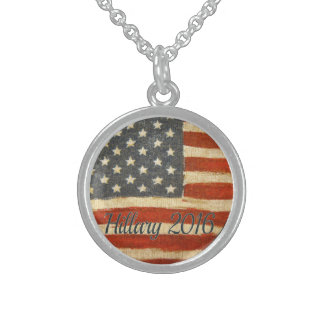 hillary 2016   Vintage Flag circle.jpg Round Pendant Necklace