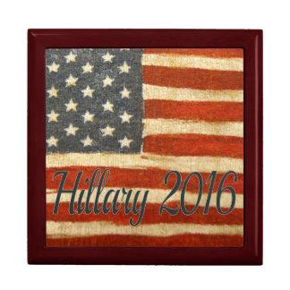 Hillary 2016   Vintage Flag square.jpg Keepsake Box