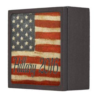 Hillary 2016   Vintage Flag square.jpg Premium Trinket Boxes