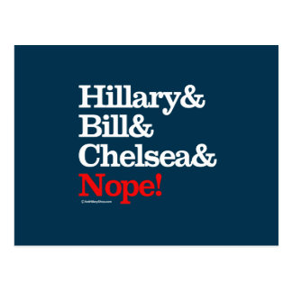 Hillary and Bill and Chelsea and Nope Postcard