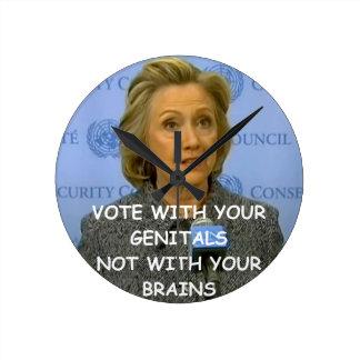 hillary anti Clinton Reloj Redondo Mediano