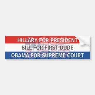 Hillary Bill y Obama para la pegatina para el Pegatina Para Auto
