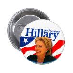 Hillary - botón pin redondo de 2 pulgadas