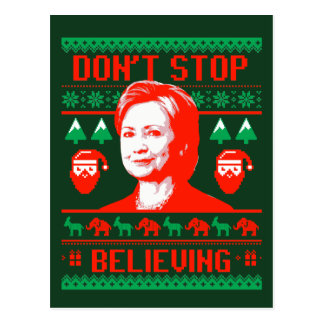 Hillary Christmas - Don't Stop Believing - Postcard