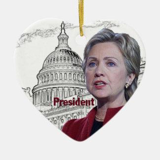 Hillary Cinton 2016 Adorno Navideño De Cerámica En Forma De Corazón